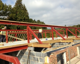Roof Plates being bolted into position by Arun Carpentry