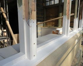 New Timbers Scarfed in and new sill made on site & fitted